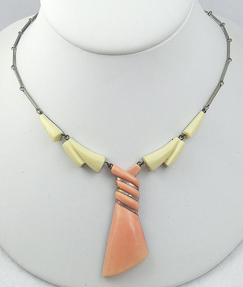 Necklaces - Art Deco Peach Galalith Twist Tie Necklace