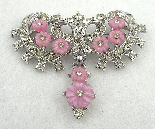 Art Deco - Vintage Pink Fruit Salad Bow Brooch