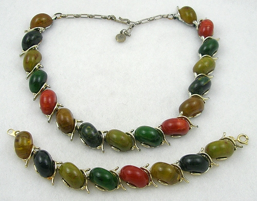 Autumn Fall Colors Jewelry - Bakelite Link Necklace and Bracelet Set