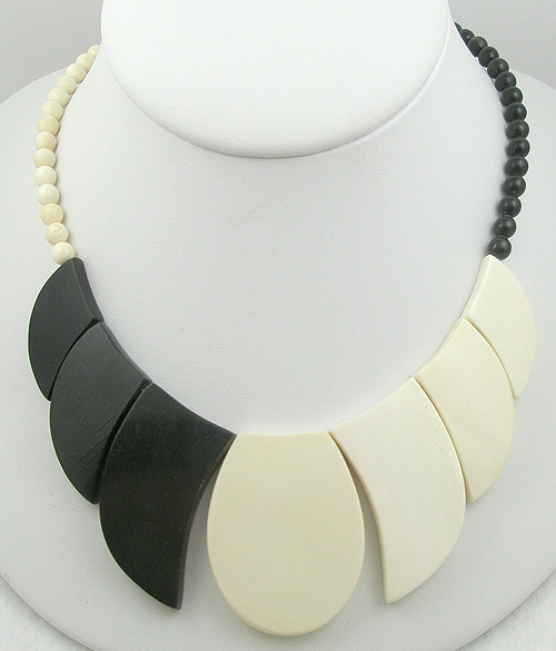 France - French Black & Ivory Galalith Necklace