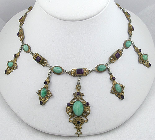 Art Deco - Czech Green & Amethyst Glass & Pearl Necklace