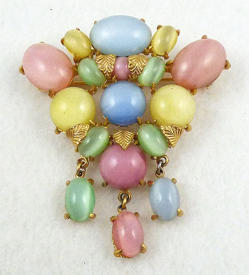 Spring Pastel Jewelry - Pastel Glass Moonstone Brooch