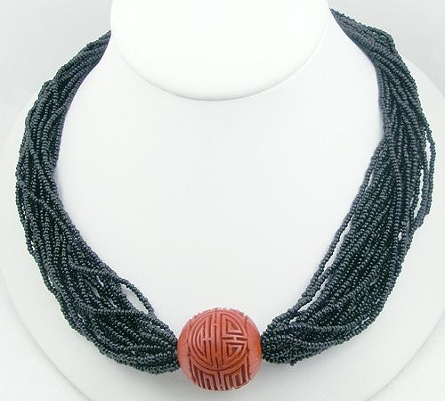 Ethnic & Boho - Hobé Black & Cinnabar Bead Torsade Necklace
