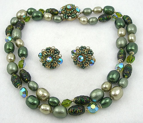 Vendome - Vendome Green Pearl & Glass Bead Necklace Set