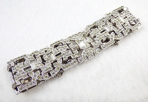 Misc. Signed A-F - Engel Brothers Art Deco Rhinestone Bracelet