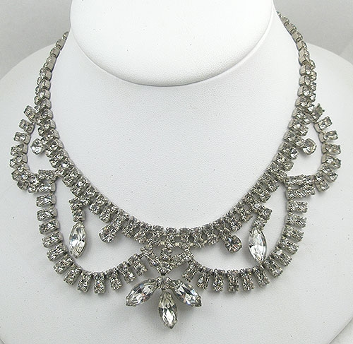 Bridal, Wedding, Special Occasion - Vintage Rhinestone Swags Necklace