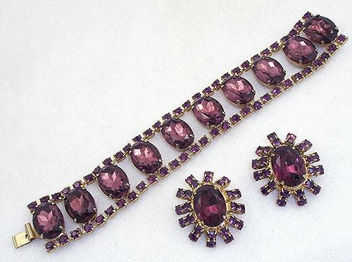 Sets & Parures - Amethyst Rhinestone Bracelet Set