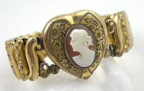 Cameos Intaglios Portraits - Victoria Sweetheart Cameo Expansion Bracelet
