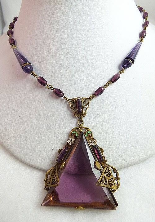 Necklaces - Czech Amethyst Glass Necklace