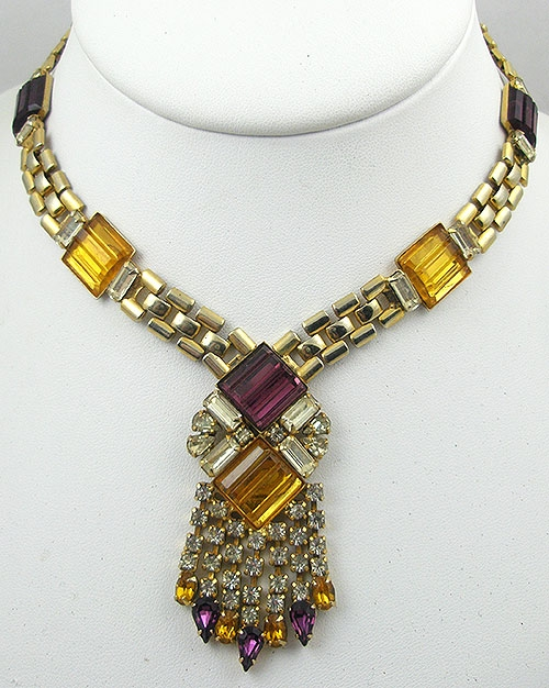 Autumn Fall Colors Jewelry - Vintage Amethyst & Topaz Step Glass Necklace