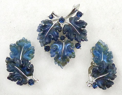Lisner - Lisner Blue Oak Leaves Brooch Set
