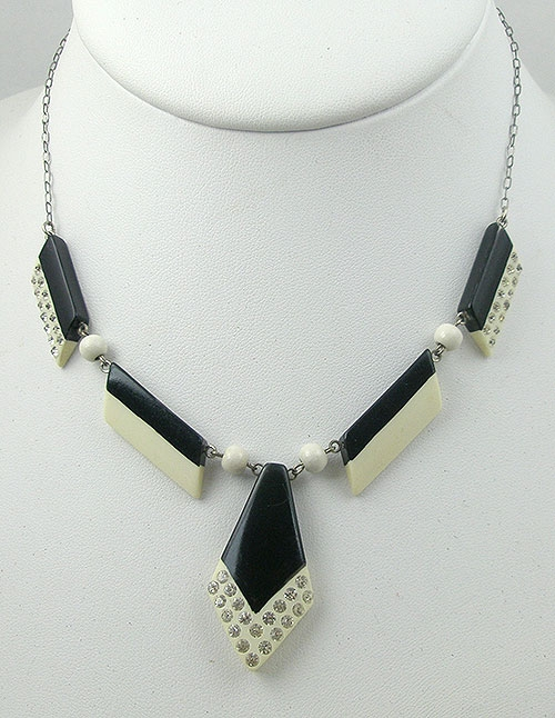 Necklaces - Art Deco Celluloid Sparkle Necklace