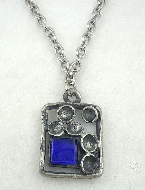 Necklaces - Postmodernist Artisan Studio Pewter Pendant with Blue Glass