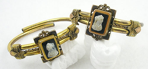 Cameos Intaglios Portraits - Victorian Cameo Bride's Bracelet Pair