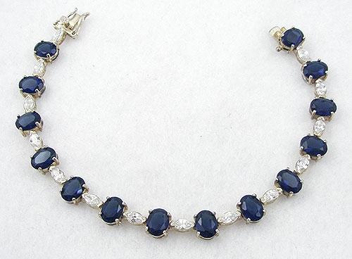 Bracelets - Sterling Sapphire Cubic Zirconia Tennis Bracelet