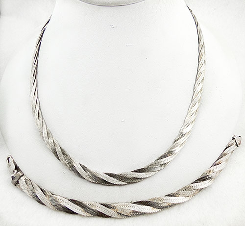 Newly Added Milor Italian Sterling Braided Chain Set