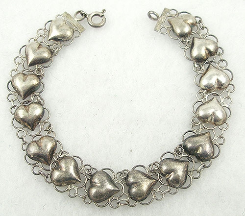 Hearts - Vintage Thai Sterling Hearts Bracelet