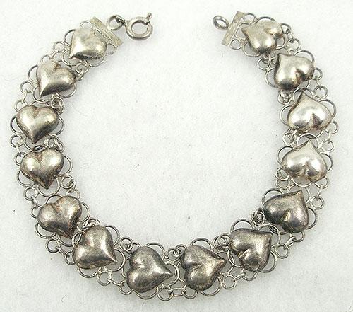 Thailand/Siam - Vintage Thai Sterling Hearts Bracelet