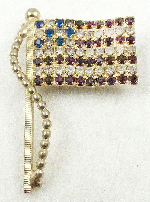 Newly Added Vintage Rhinestone American Flag Brooch