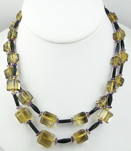 Crystal Bead Jewelry - Pale Yellow Crystal Bead Double Strand Necklace