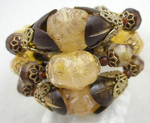 Autumn Fall Colors Jewelry - Hobé Gold & Chocolate Bead Wrap Bracelet
