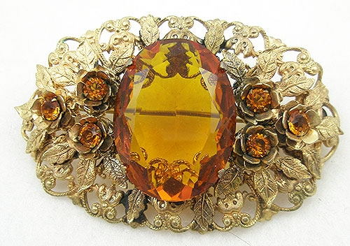 Art Nouveau - Gold Leaves and Topaz Glass Sash Pin