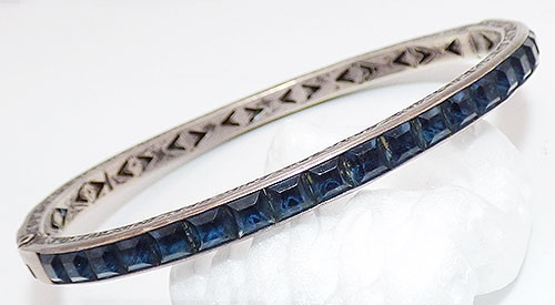 Bracelets - Art Deco Sterling Blue Rhinestone Bangle