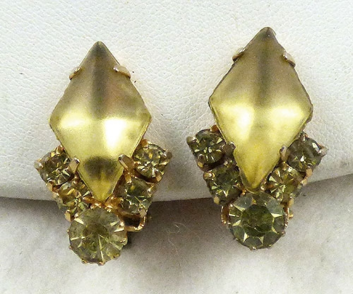 Earrings - Yellow Frosted Glass Rhinestone Earrings