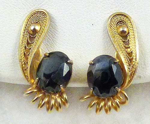 Earrings - Gold Filigree Hematite Earrings