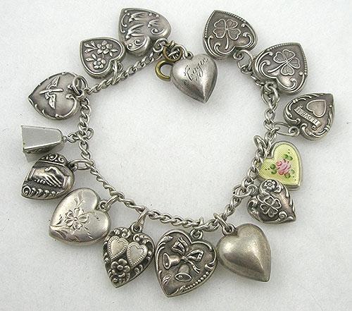 Bracelets - Vintage Sterling Puffy Heart Charm Bracelet