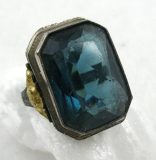 Art Deco - Art Deco Sterling Teal Glass Ring