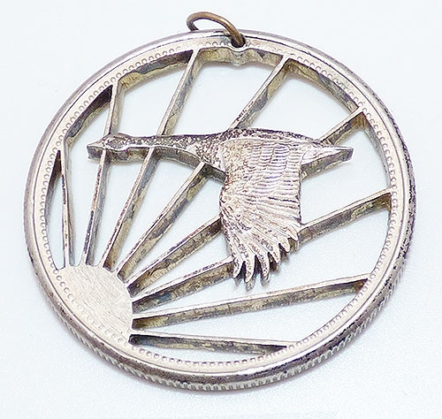 Newly Added Cut Coin Manchurian Crane Pendant