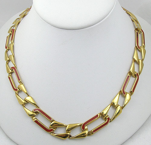 Necklaces - Monet Red Enameled Gold Chain Necklace
