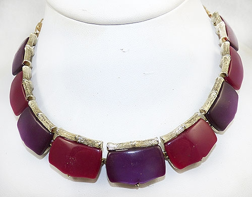 Lisner - Lisner Purple and Magenta Link Necklace