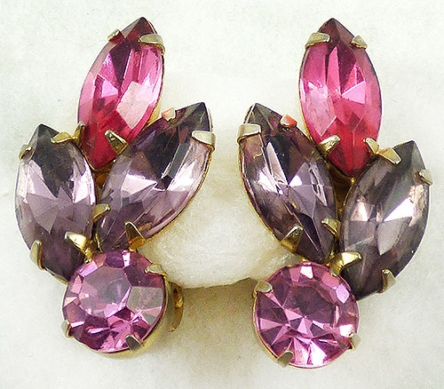 Newly Added Pink and Amethyst Rhinestone Earrings