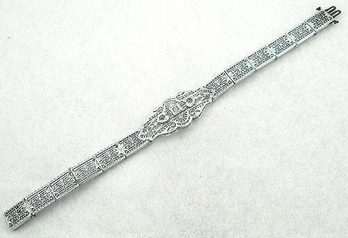 Bracelets - Art Deco Rhodium Filigree Bracelet