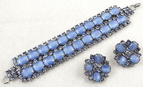 Sets & Parures - Blue Glass Moonstone Bracelet Set