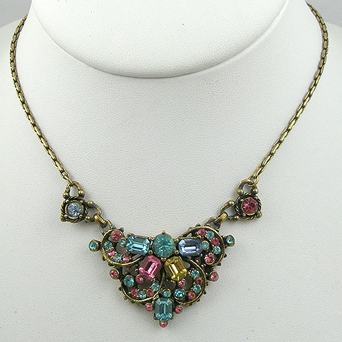 Necklaces - Hollycraft Pastel Rhinestone Necklace