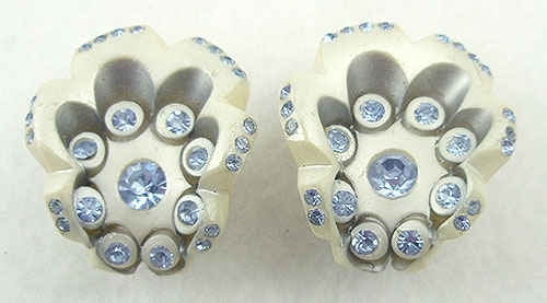 Earrings - Pearlescent Thermoset Earrings with Blue Rhinestones