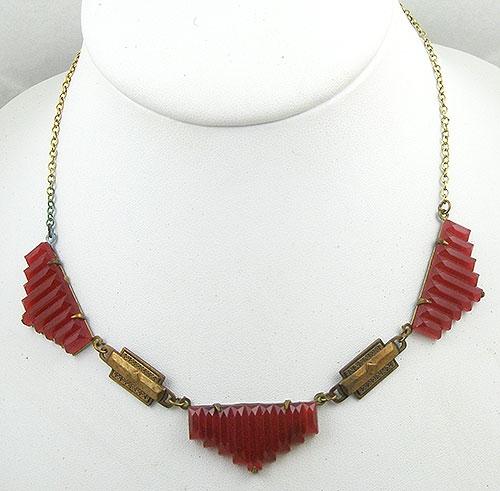 Art Deco - Art Deco Carnelian Glass Necklace