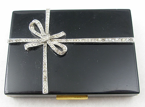 Compacts - Black Present Compact with Rhinestone Ribbon