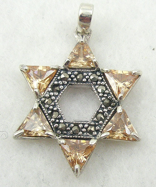 Jewish Jewelry - Topaz CZ Star of David Pendant