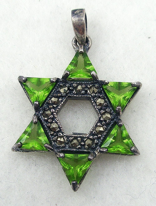Jewish Jewelry - Peridot CZ Star of David Pendant