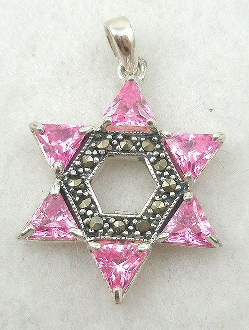 Necklaces - Pink CZ Star of David Pendant