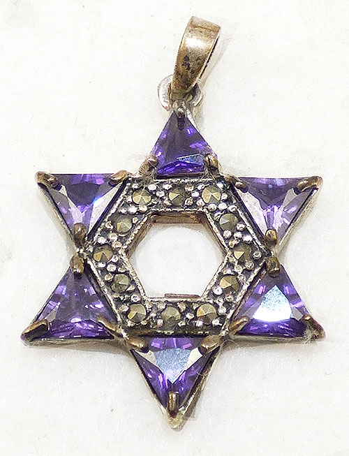 Necklaces - Sterling Purple CZ Star of David Pendant