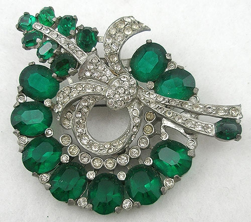 Brooches - Eisenberg Green Rhinestone Wreath Brooch