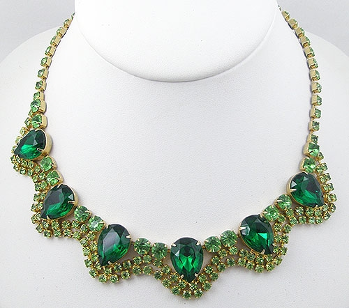 Necklaces - Vintage Green Rhinestone Necklace