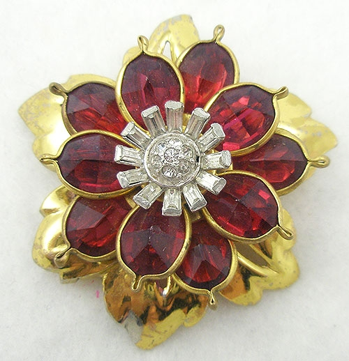 Florals - Retro Ruby Flower Brooch