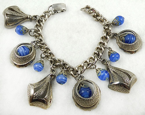Charm Jewelry - Blue Glass Bead and Silver Charm Bracelet