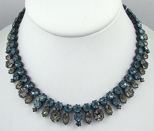 Winter Colors Jewelry - Deep Aqua & Black Diamond Rhinestone Necklace
